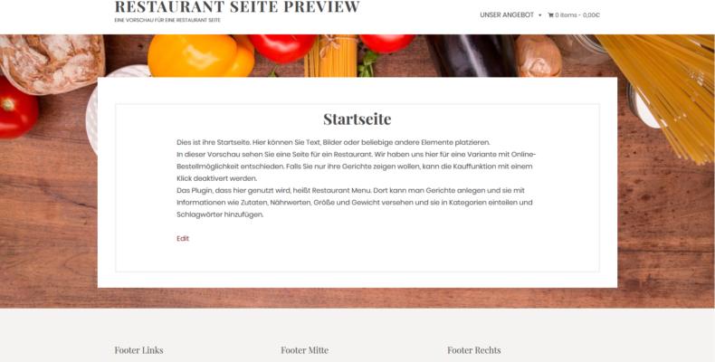 Screenshot Restaurant Seite